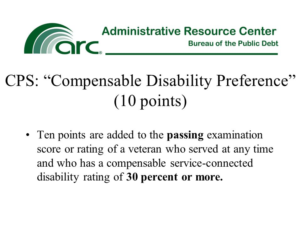 CPS: Compensable Disability Preference (10 points)