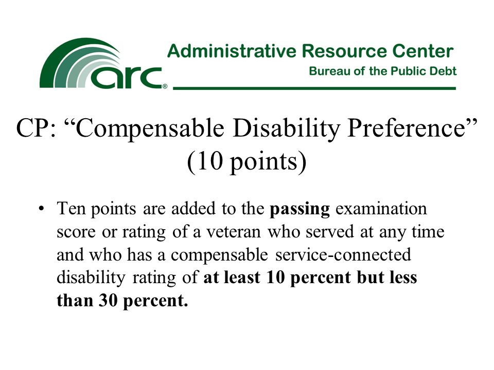 CP: Compensable Disability Preference (10 points)