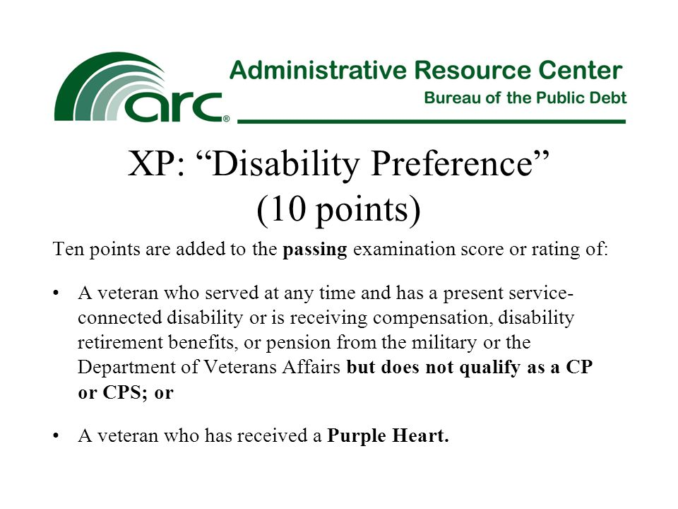 XP: Disability Preference (10 points)