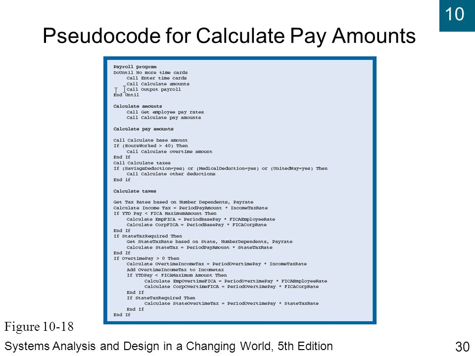 Pseudocode for Calculate Pay Amounts