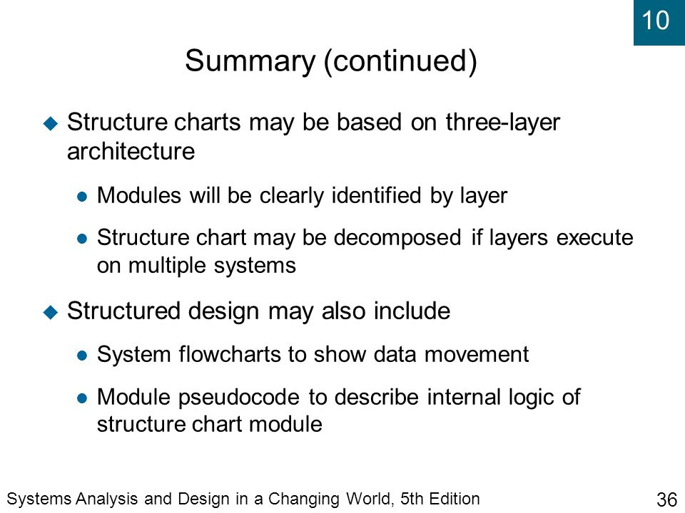 Summary (continued)‏ Structure charts may be based on three-layer architecture. Modules will be clearly identified by layer.