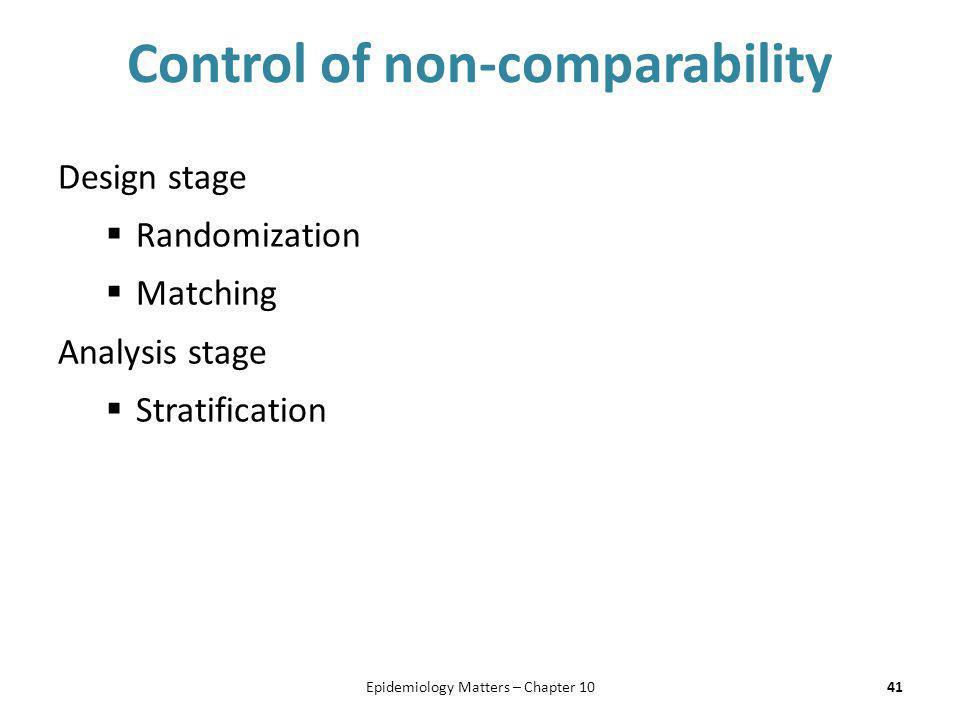 Control of non-comparability