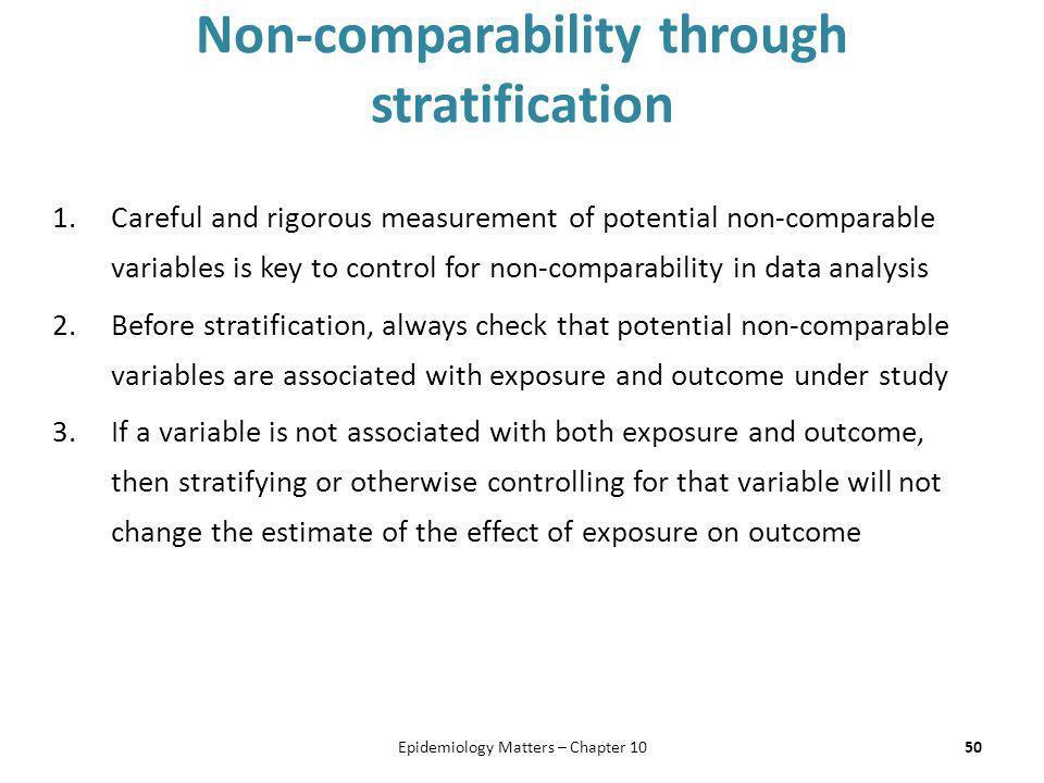 Non-comparability through stratification