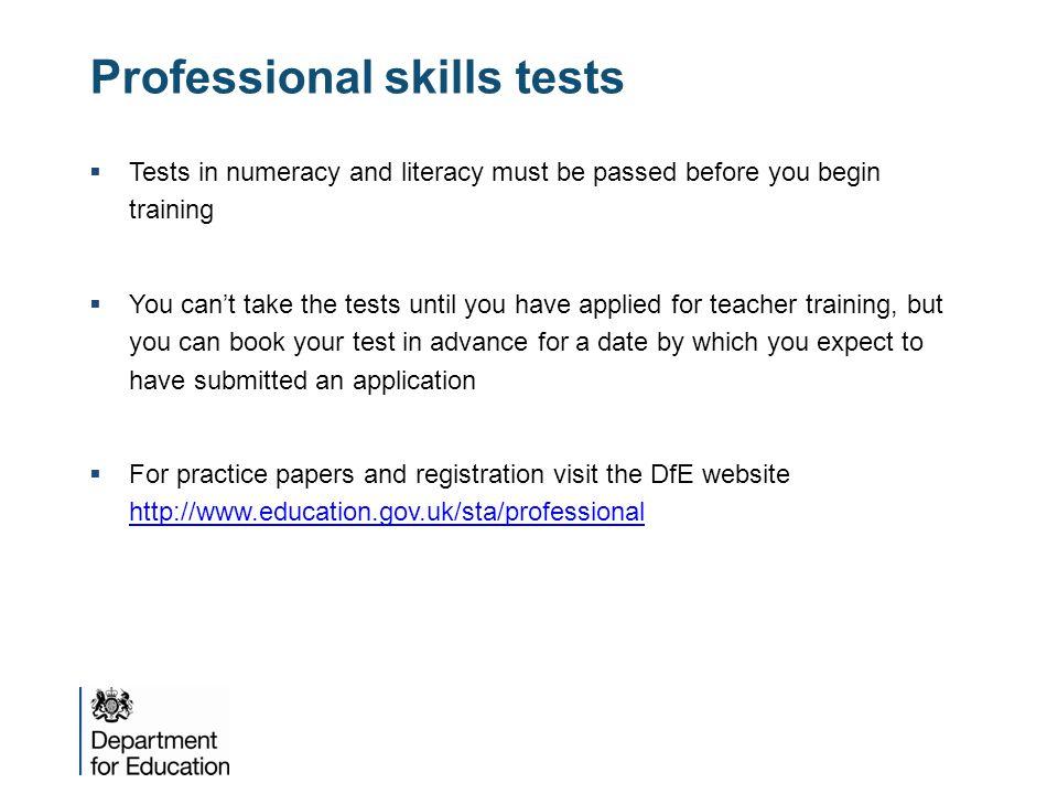Professional skills tests