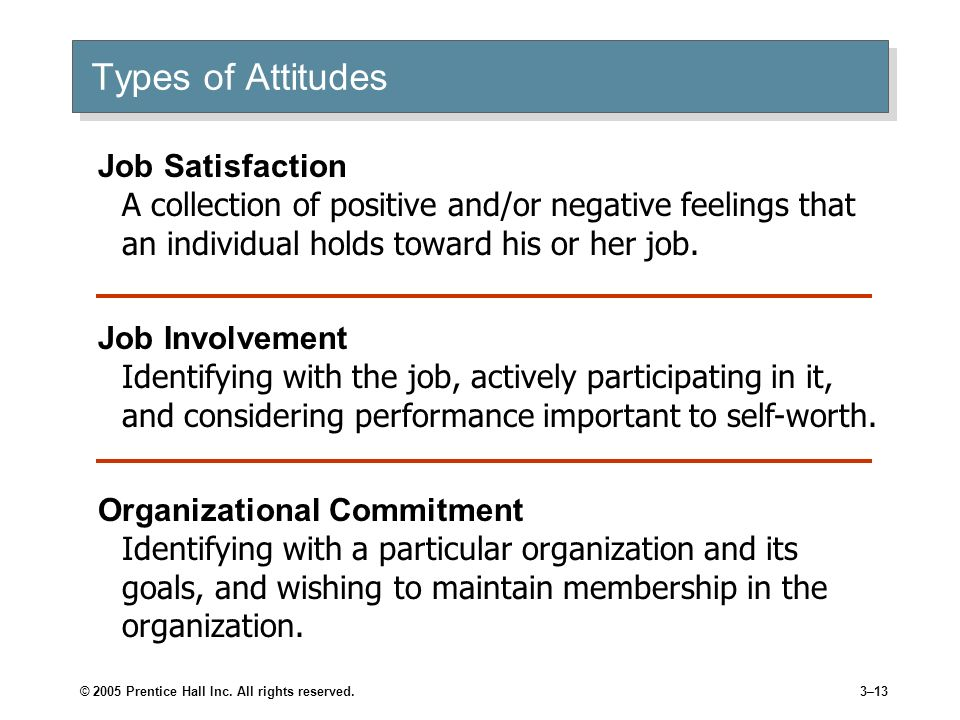 Types of AttitudesJob Satisfaction A collection of positive and/or negative feelings that an individual holds toward his or her job.