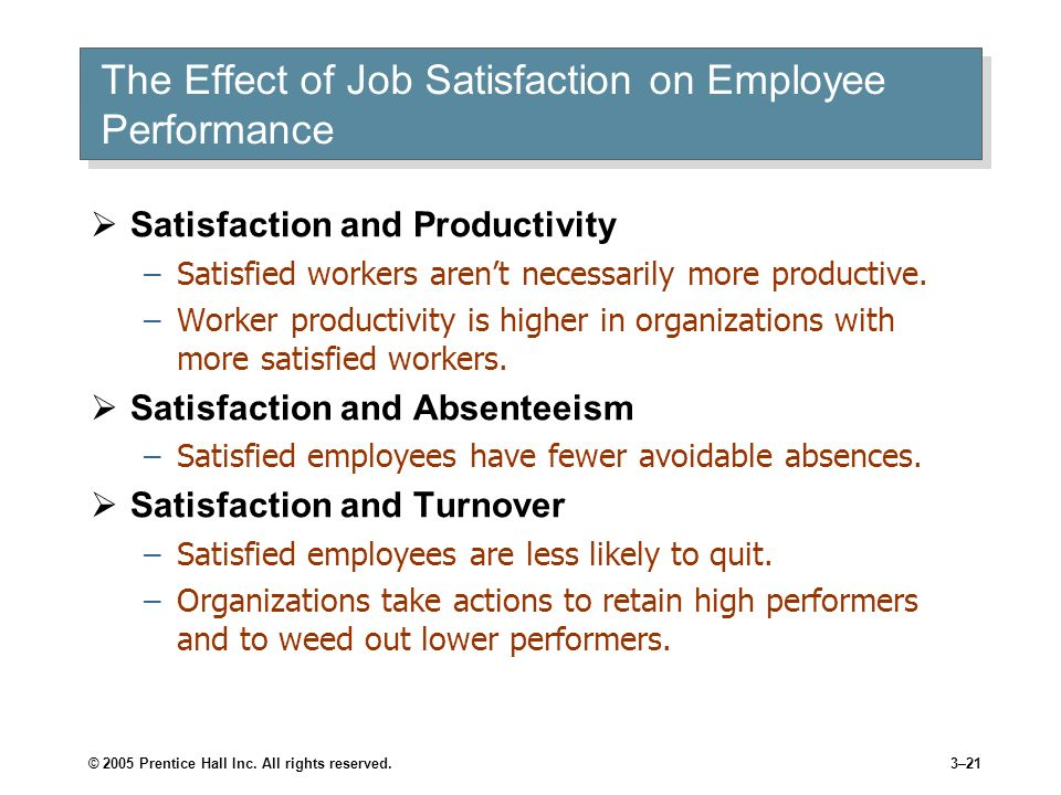 the impact of the job satisfaction Impact of job satisfaction and dissatisfaction management essay job satisfaction is the there is enough discussion on the impact of job satisfaction and.