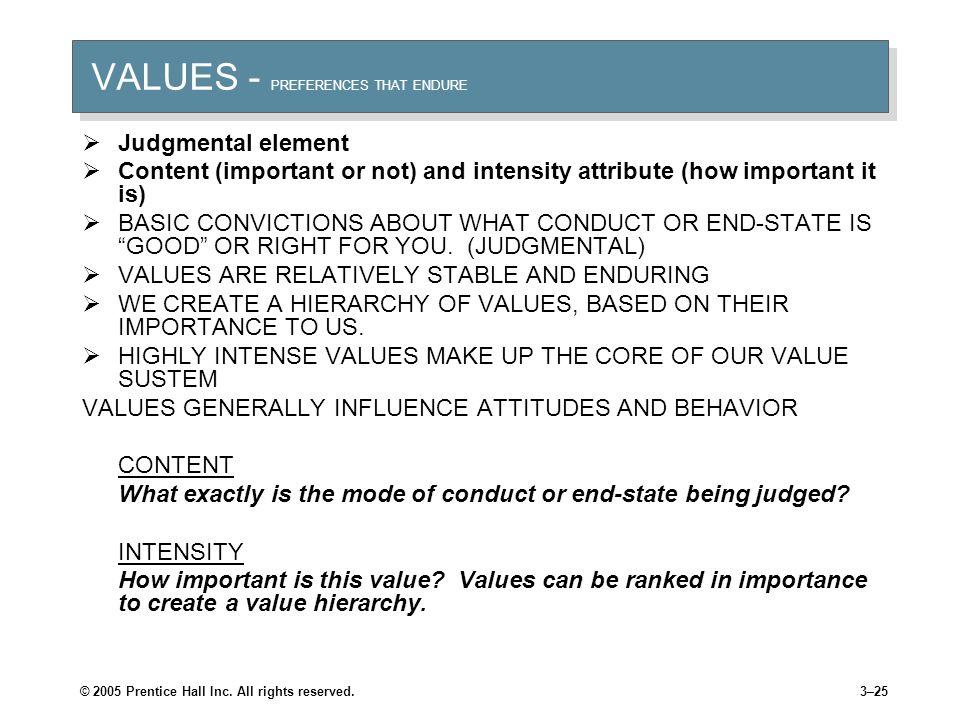 VALUES - PREFERENCES THAT ENDURE