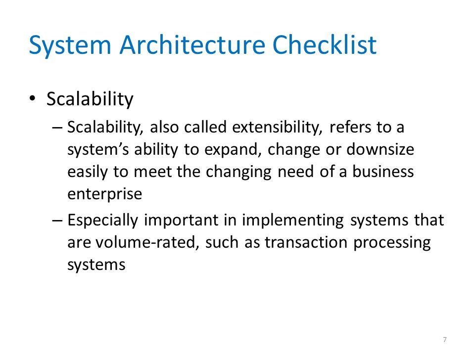 System Architecture Checklist