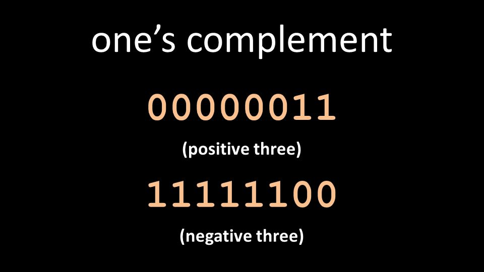 one's complement 00000011 (positive three) 11111100 (negative three)