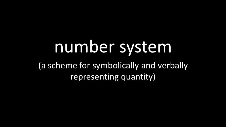 (a scheme for symbolically and verbally representing quantity)