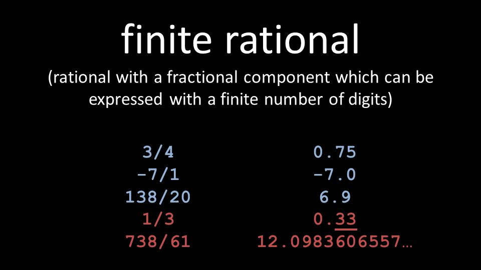 finite rational (rational with a fractional component which can be expressed with a finite number of digits)