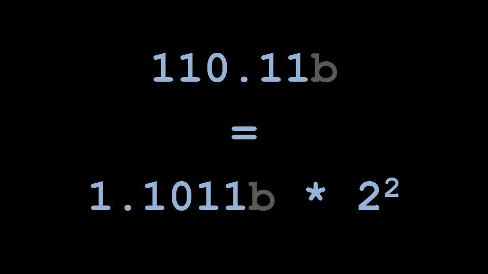 110.11b = 1.1011b * 22