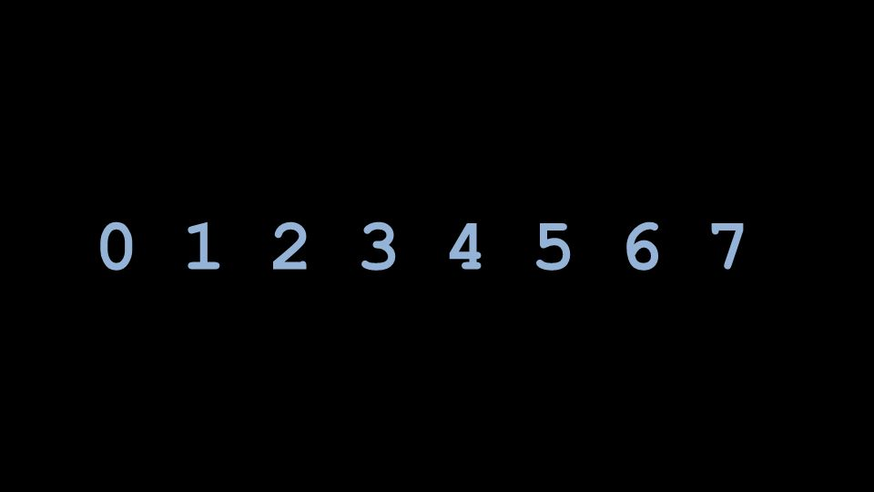 0 1 2 3 4 5 6 7 Rather than contriving new symbols, we use the same Arabic numerals as we do in decimal; we just use 8 of them instead of all 10.