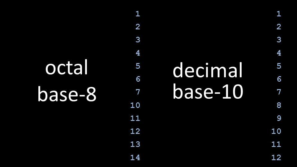 octal base-8 decimal base-10 1 2 3 4 5 6 7 10 11 12 13 14 1 2 3 4 5 6