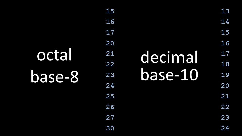 octal base-8 decimal base-10 15 16 17 20 21 22 23 24 25 26 27 30 13 14