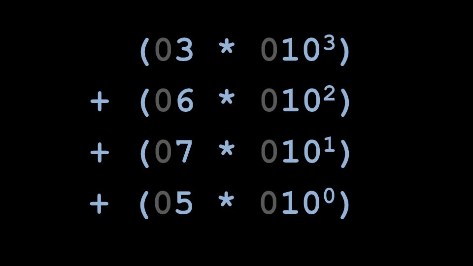 (03 * 0103) + (06 * 0102) + (07 * 0101) + (05 * 0100)