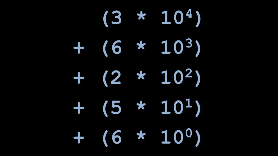 (3 * 104) + (6 * 103) + (2 * 102) + (5 * 101) + (6 * 100)