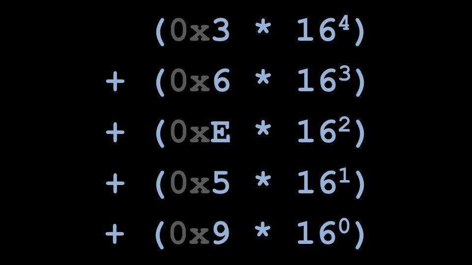 (0x3 * 164) + (0x6 * 163) + (0xE * 162) + (0x5 * 161) + (0x9 * 160)