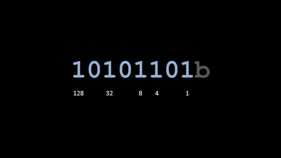 10101101b 128 32 8 4 1