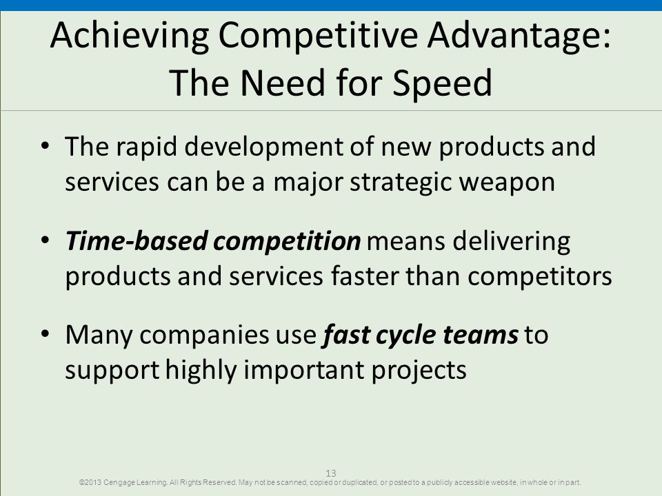 Achieving Competitive Advantage: The Need for Speed