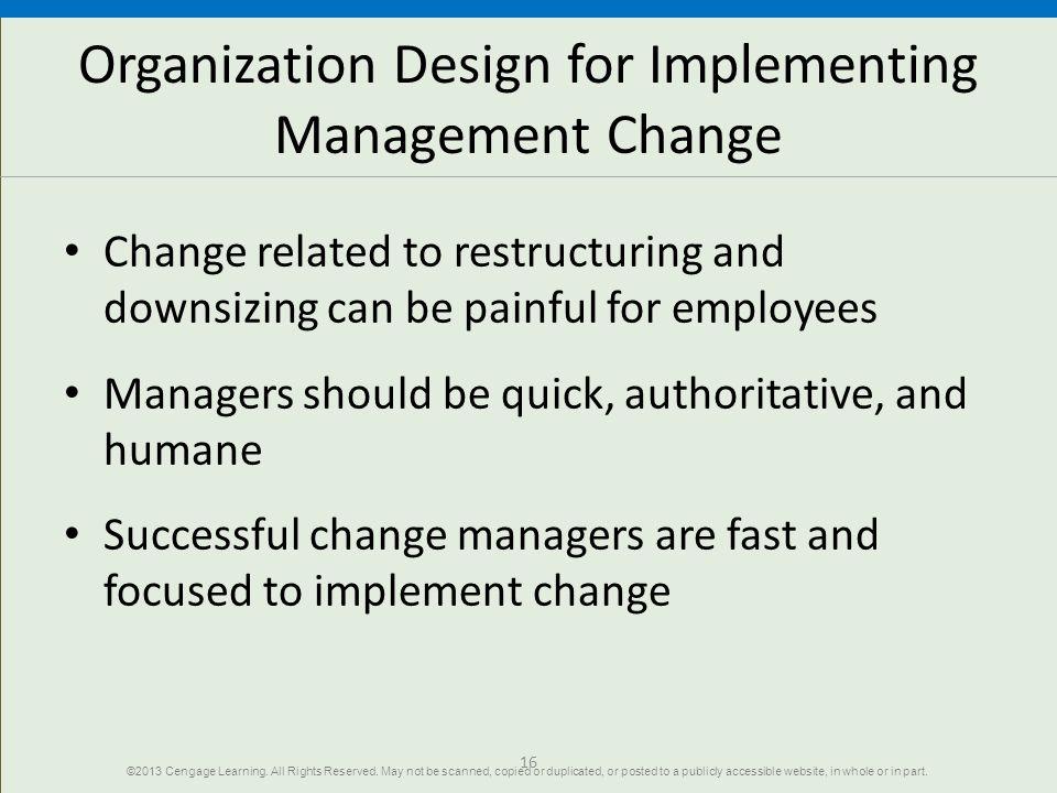Organization Design for Implementing Management Change