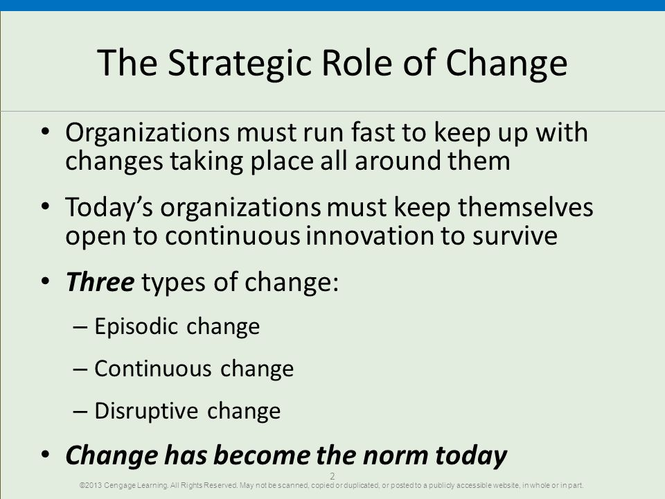 The Strategic Role of Change