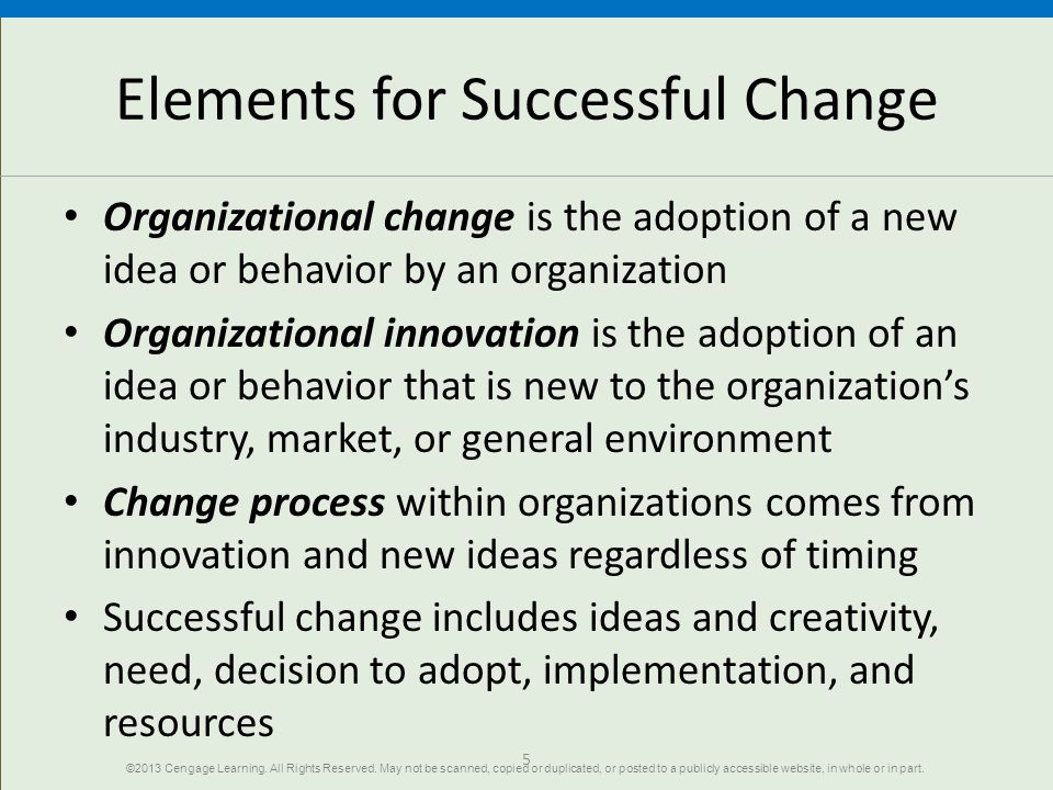 Elements for Successful Change