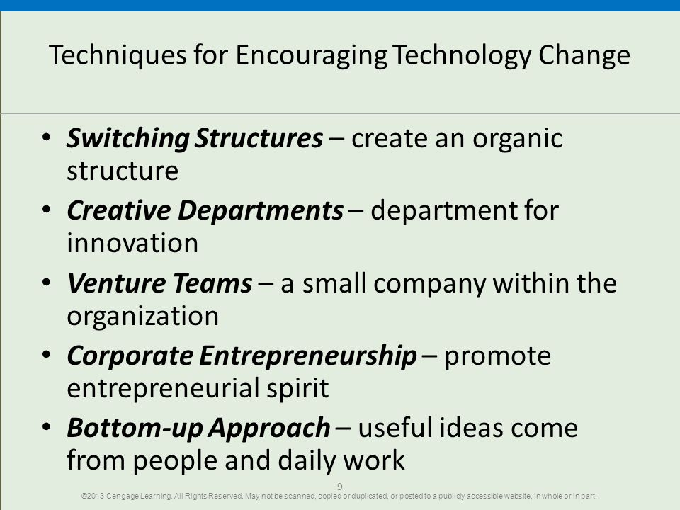 Techniques for Encouraging Technology Change
