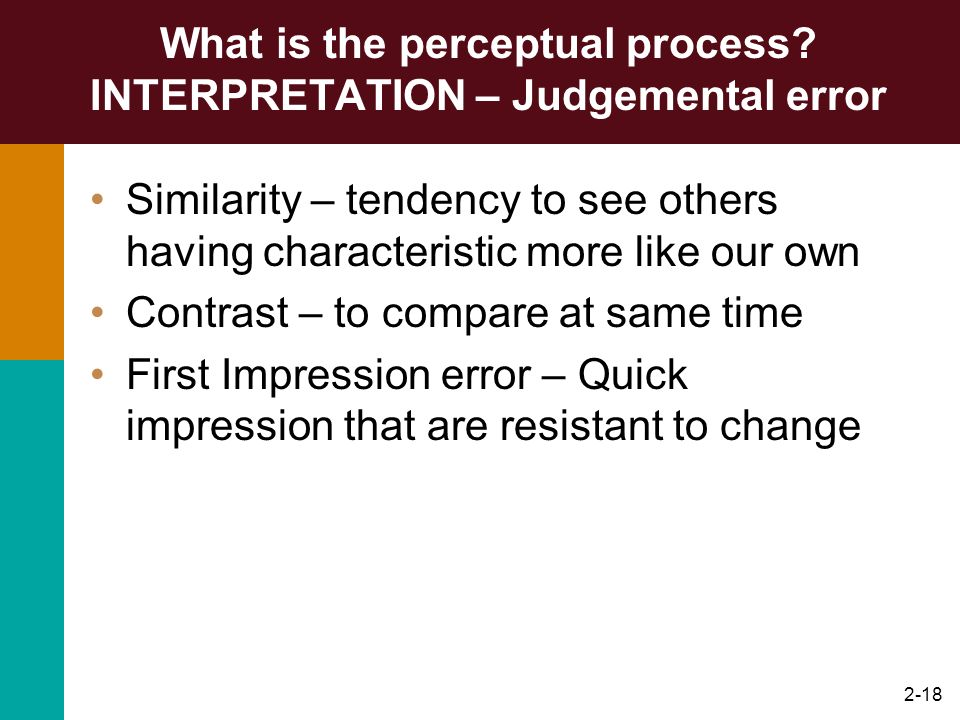 What is the perceptual process INTERPRETATION – Judgemental error