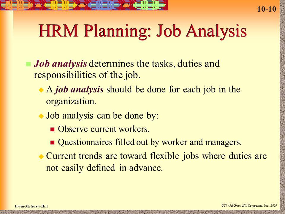HRM Planning: Job Analysis