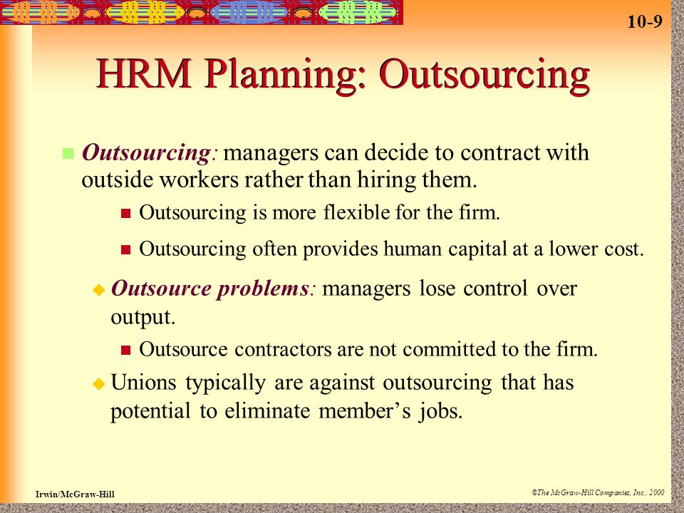HRM Planning: Outsourcing