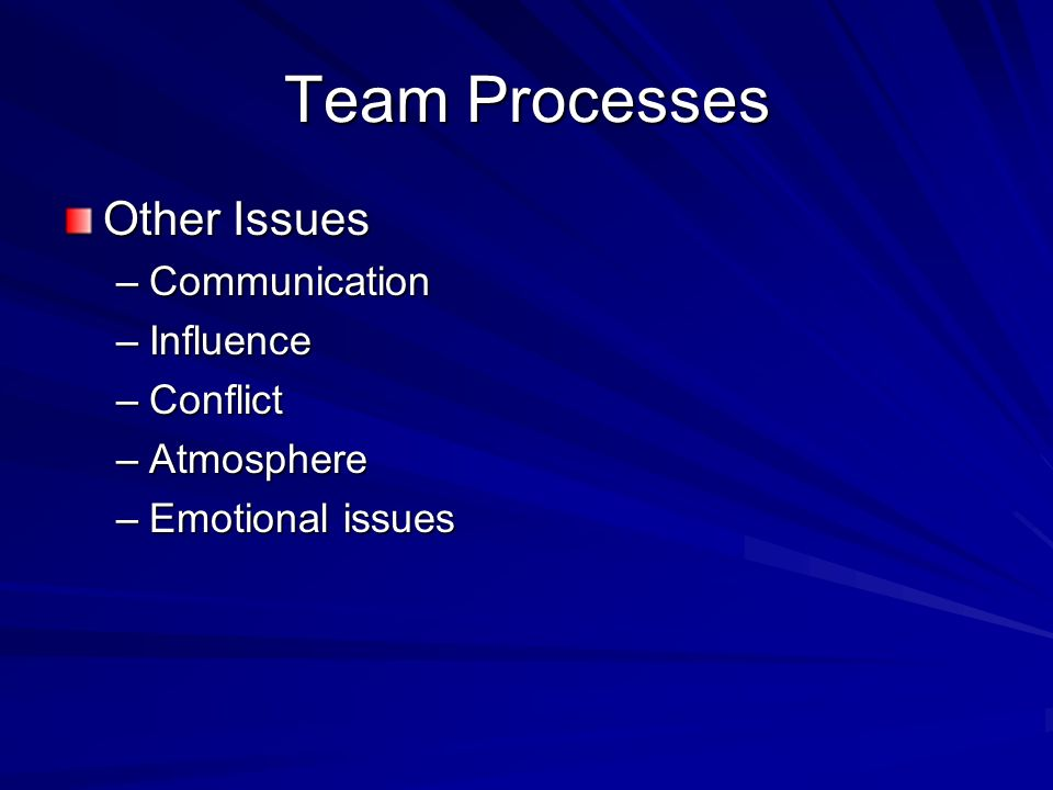 Team Processes Other Issues Communication Influence Conflict