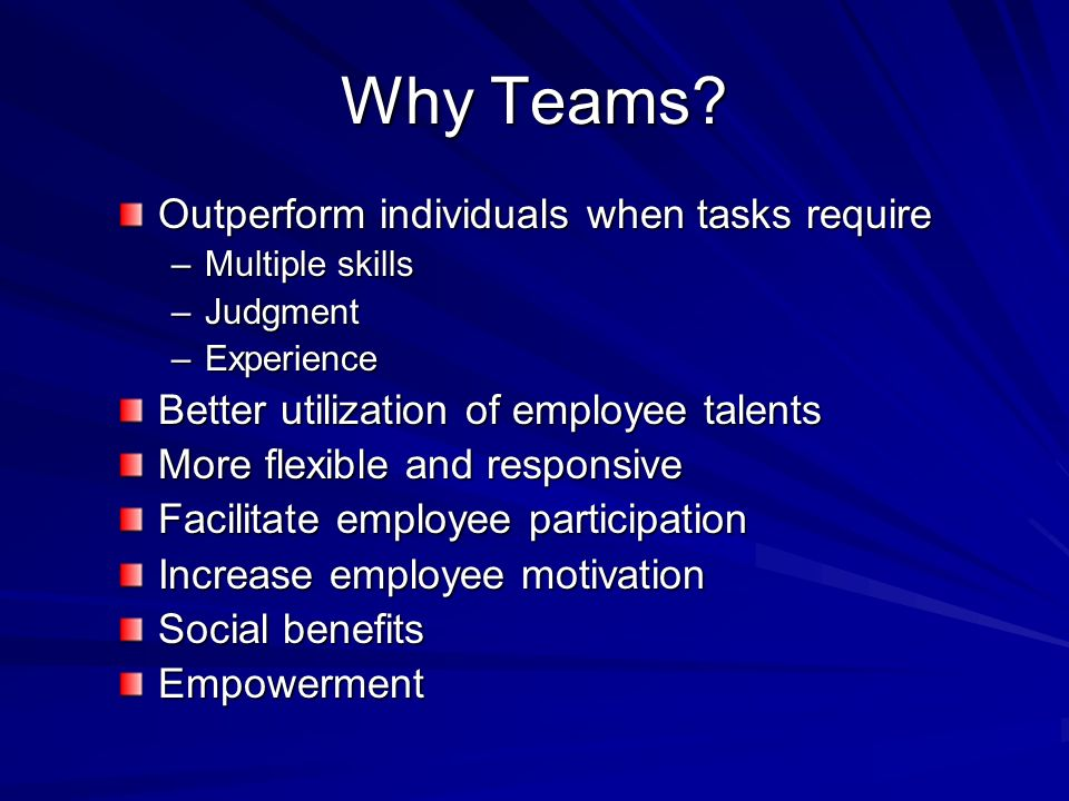 Why Teams Outperform individuals when tasks require