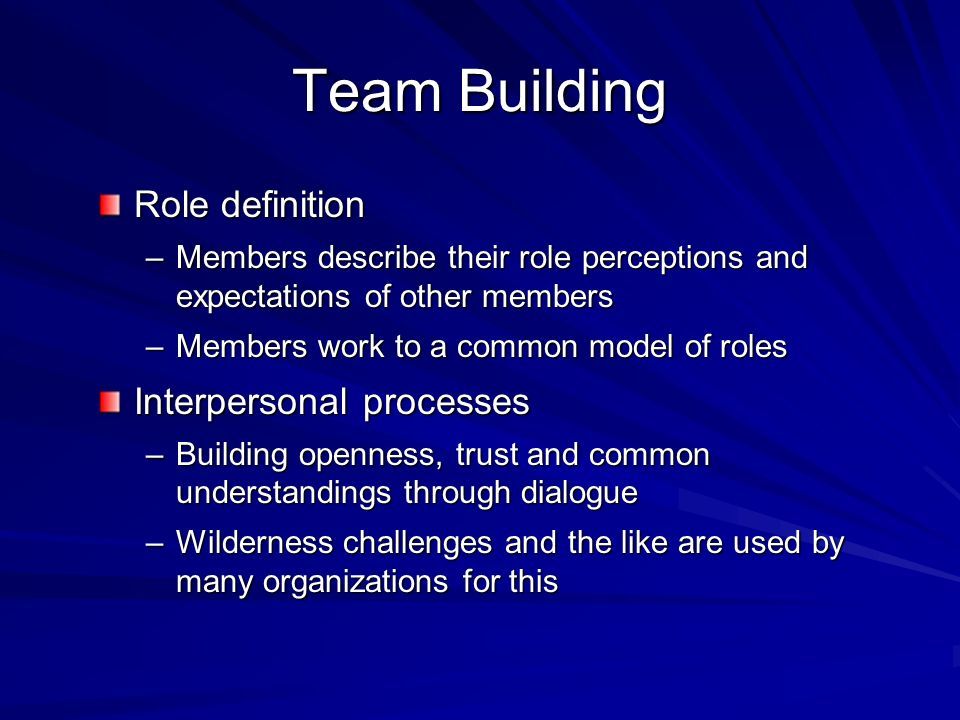 Team Building Role definition Interpersonal processes
