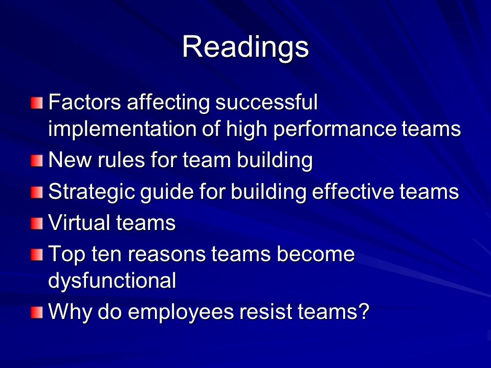Readings Factors affecting successful implementation of high performance teams. New rules for team building.