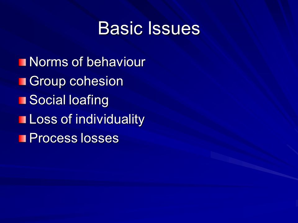 Basic Issues Norms of behaviour Group cohesion Social loafing