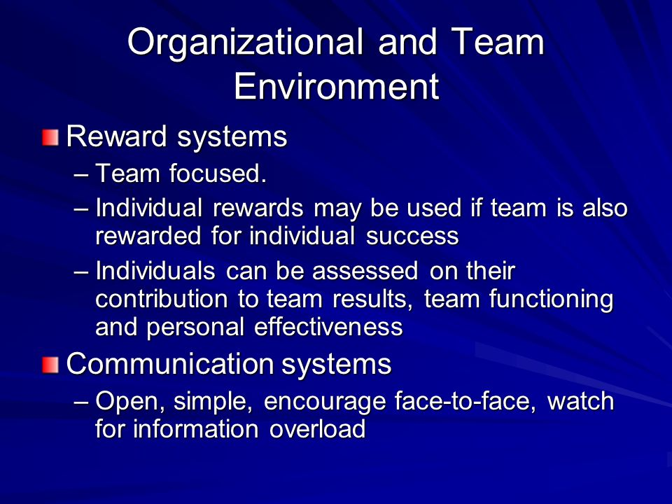 Organizational and Team Environment