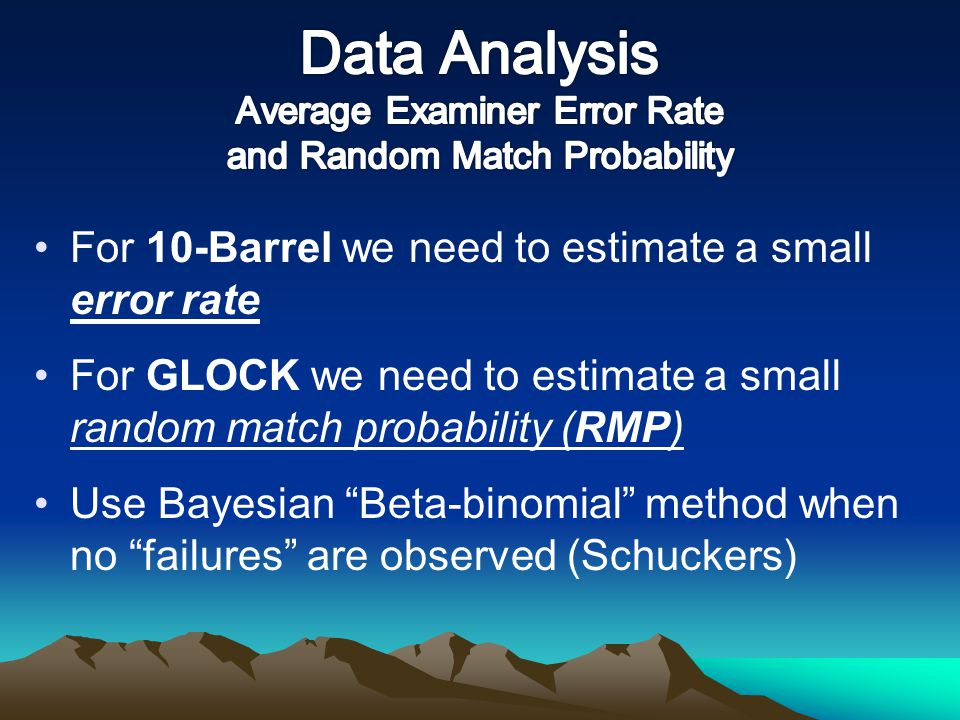 Data Analysis Average Examiner Error Rate and Random Match Probability