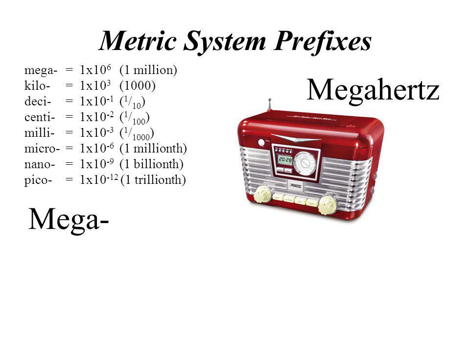 Megahertz Mega- Metric System Prefixes mega- = 1x106 (1 million)