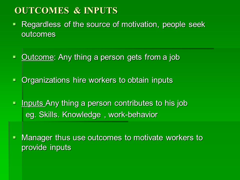 OUTCOMES & INPUTS Regardless of the source of motivation, people seek outcomes. Outcome: Any thing a person gets from a job.