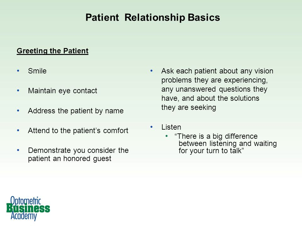 Patient Relationship Basics