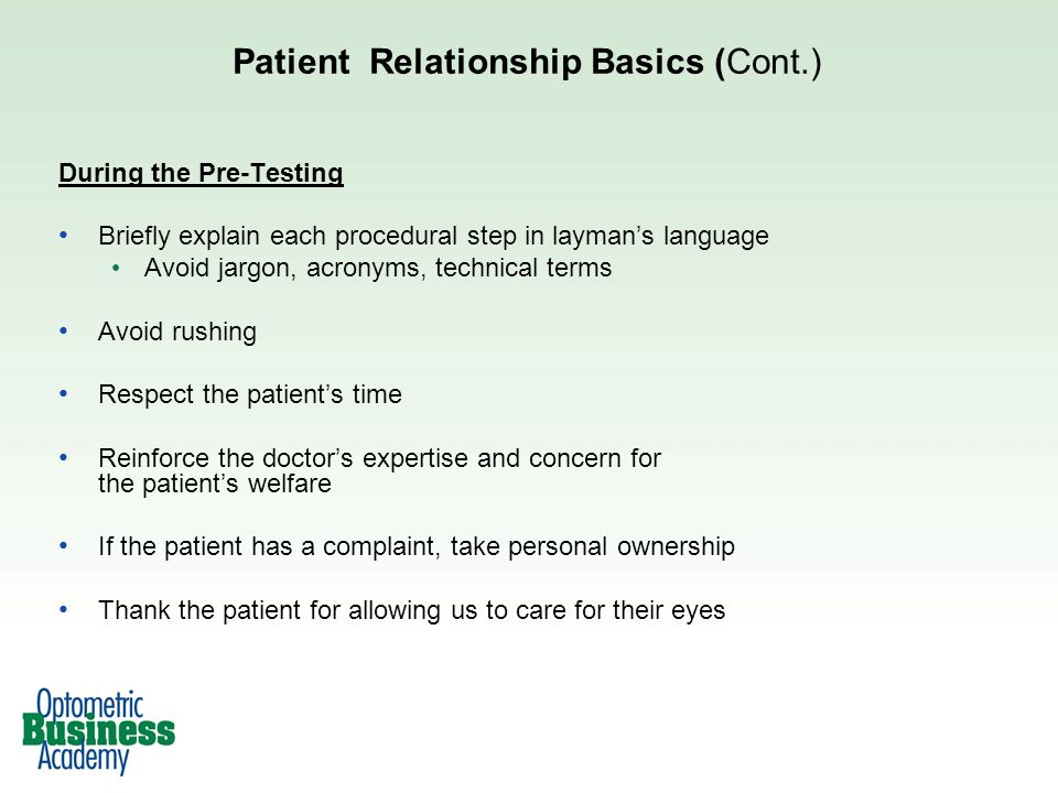 Patient Relationship Basics (Cont.)