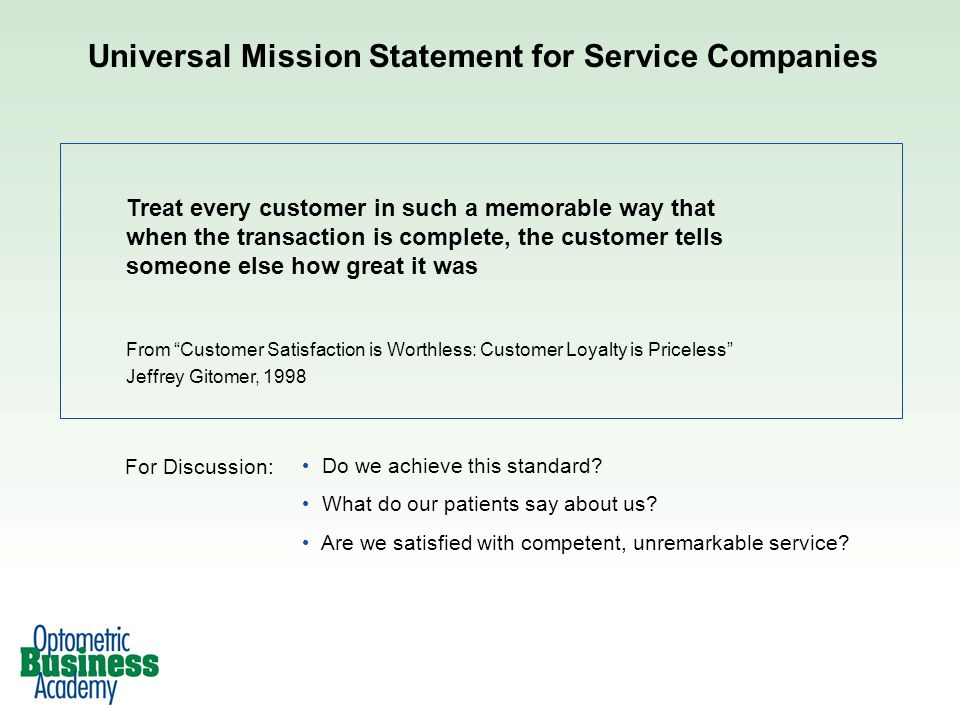Universal Mission Statement for Service Companies