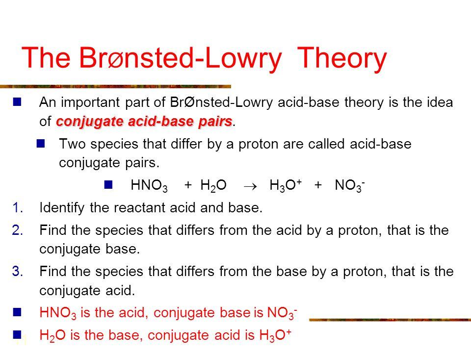 The BrØnsted-Lowry Theory