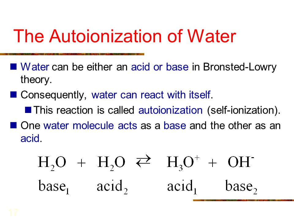acid and water How to use acid water from water ionizer since i don't own an ionizer, i use vinegar as my acid water, to wash my produce and hands.