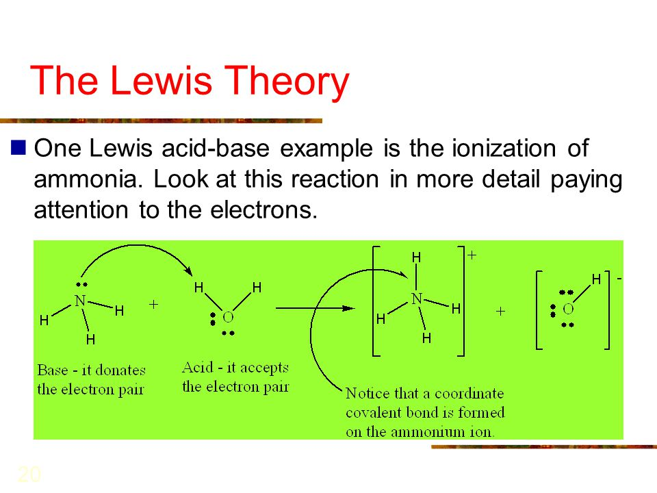 The Lewis Theory One Lewis acid-base example is the ionization of ammonia.