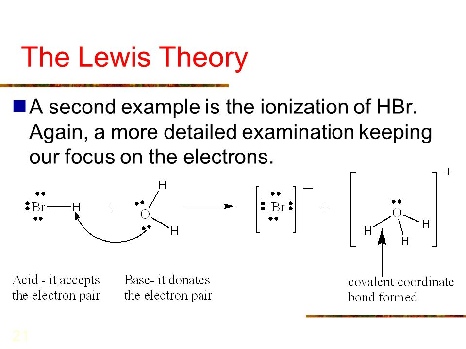The Lewis Theory A second example is the ionization of HBr.
