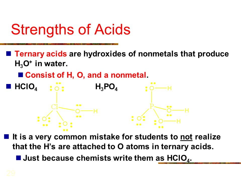Strengths of Acids Ternary acids are hydroxides of nonmetals that produce H3O+ in water. Consist of H, O, and a nonmetal.