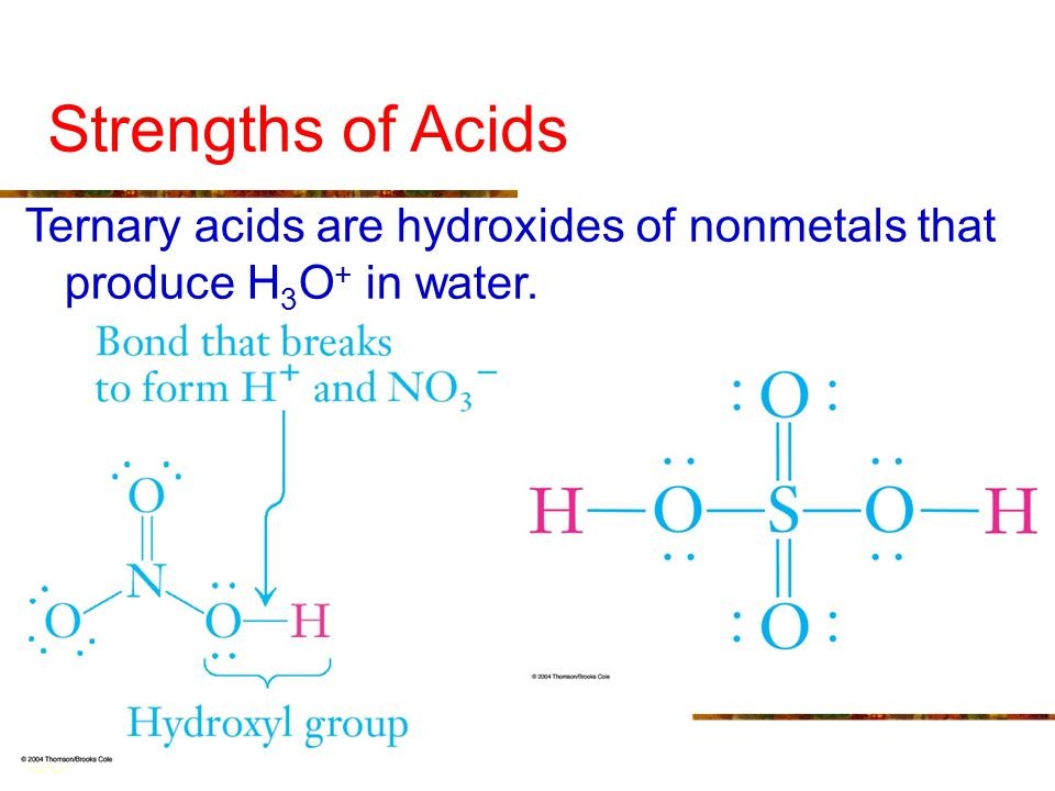 Strengths of Acids Ternary acids are hydroxides of nonmetals that produce H3O+ in water.
