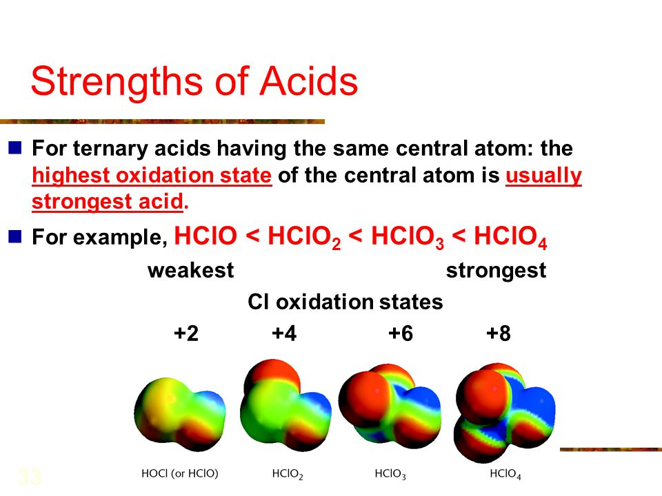 Strengths of Acids For ternary acids having the same central atom: the highest oxidation state of the central atom is usually strongest acid.